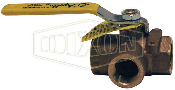 3-Way Brass Diverting Ball Valve L Flow