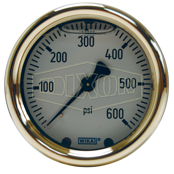 Brass Liquid Filled Gauge Center Back Mount