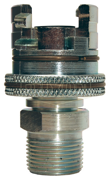 Dual-Lock P-Series Thor Interchange Male Thread Coupler with Knurled Flanged Sleeve