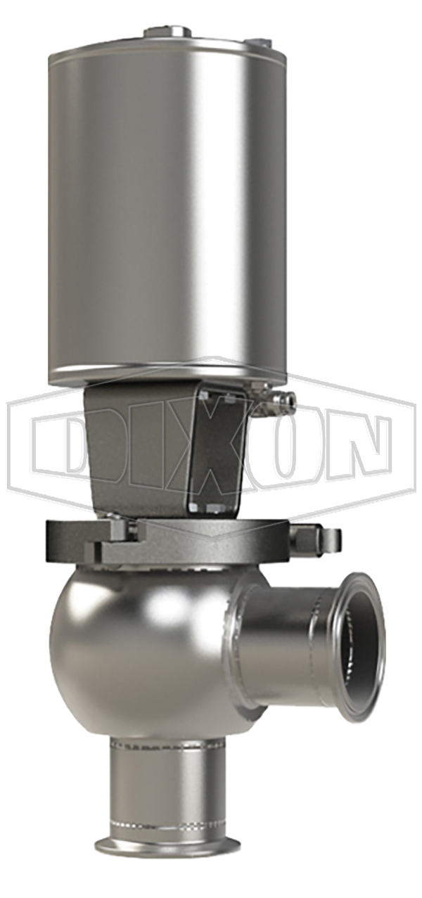 SSV Series Single Seat Valve , L Body, Clamp, Spring Return Actuator (Air-To-Raise)